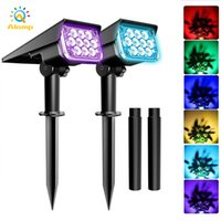 Solar Garden Lawn Lamp 20 LED Spotlight Green RGB Color Changing Outdoor Decoration Light Sun Powered Landscape Lights for Yard Driveway Porch Walkway Pool Patio