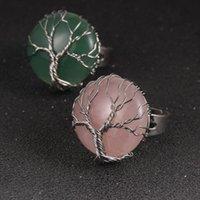 Envoltório de fio de cobre envoltório natural anéis ajustáveis homens mulheres redonda cristal amethysts reiki árvore cura de vida conjunto de jóias anel