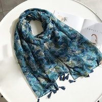 Scarves 2021 Ethnic Style Cashew Flower Women Cotton Beach Head Scarf Hijab Soft Shawls And Wraps Pashmina Hijabs Stoles