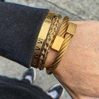 Charm Bracelets Luxury 3pcs Set Stainless Steel Bracelet Hip Hop Men Jewelry Roman Number Gold Color For Pulseira Bileklik