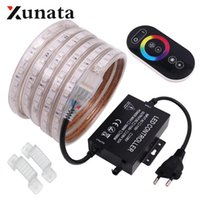 Strips RGB LED Strip Lights 60LEDs m 120LEDs m Flexible Tape Light Waterproof For Home Decoration 220V With Touch Remote