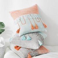 Cushion Decorative Pillow Knitted Cushion Cover Retro Gray Blue Orange Tassel Pillowcase 45cm*45cm Home Decoration