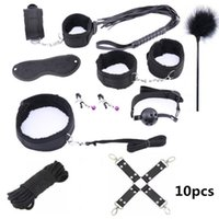 Handcuffs for sex 10 Pcs set PU Leather BDSM Sex Bondage Set Hand Cuffs Footcuff Whip Rope Blindfold Erotic Sex Toys 0424