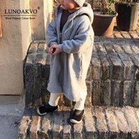 Куртки Луноакво Детские дети Мальчики Девочки Длинные Траншиные Пальто Детские Капюшоны Малыш Малыш Волна Удобные Теплые Джакеты