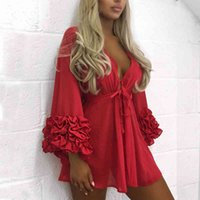 Sexy Women Bikini Cover Up Swimwear Long Sleeve Summer Chiffon Beach Floral Ruffles V Neck Blouse Fashion Women Clothes Red S-XL