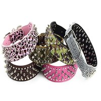 Spiked Studded Solid Pu Leather Dog Collars Pitbull Boxer Mastiff Breeds Pet Round Toe Nail Collar 5pcs lot & Leashes