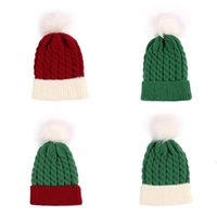 Red and green Children's knitting hat warm baby wool cap in autumn and winter 2020 christmas hat Christmas Decorations 10pcs