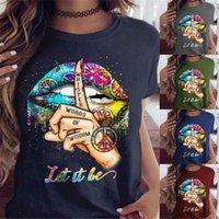 Femmes lèvres motif t-shirts T-shirts Fashion Tendance décontractée manches courtes à manches courtes de concepteur été féminine féminine gestes impression t-shirts