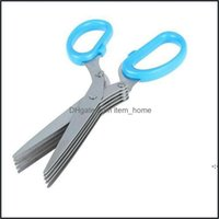 Hand Home & Garden5 Layers Kitchen Scissors Bar Stainless Steel Cooking Tools Sushi Shredded Scallion Cut Herb Spices Knives 19.5Cm*7.5Cm Bw
