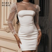 Two Piece Dress Women Sexy Sequin Mesh Patchwork Long Sleeve White Bodycon Mini Dresses See Through Spring Club Wear Party Vestidos