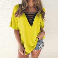 Women's Blouses & Shirts 2021 Summer Casual Loose Blusas Womens Sexy Tunic Oversized V-neck Hollow Out Short Sleeve Vintage Tops Female