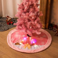 Jupe d'arbre de Noël en peluche en peluche de zerolife rose peluche avec LED Light Up Funny Plancher Cover Cover Cercle Tablier Noël Fournitures G0925