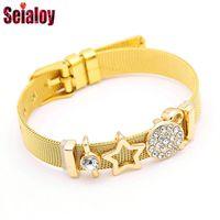 Charm Bracelets SEIALOY Stainless Steel Mesh Watch Belt For Woman Men Original Gold Crystal Star Key Bracelet Bangles