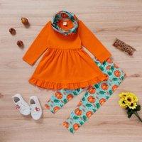 Clothing Sets Toddler Baby Girl Clothes Tops Dress+Halloween Pumpkin Pants+Headband Outfits Set Kids Dress Casual