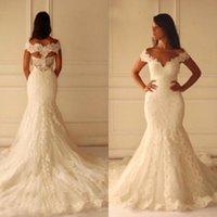 Hot Mermaid Wedding Dresses Vintage Lace Appliques Bridal Gowns V Neck Off the Shoulder Hollow Back Custom Made Brides Wear