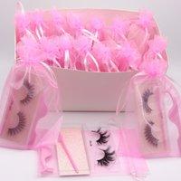 3D Faux Mink Wimpern Natürliche lange weiche handgemachte grausamkeit freie falsche Wimpern mit Pinzette Wimpernbürste in rosa Tasche