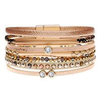Beaded, Strands Fashion Alloy Wide Magnetic Leather Bracelets & Bangles Multilayer Jewelry For Women Men Crystal Beads