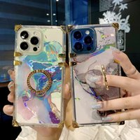 Luxury Square Marble With Ring Stand Phone Cases Soft Silicone Cover Shockproof For iPhone 13 12 11 Pro Max X XR Xs 8 7 Plus 13Promax
