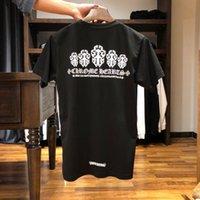 Kalpler Crosin Baskı Krom Kılıç Sanskritçe Mektubu Gevşek Casual Kısa Kollu T-shirt Çiftler Için