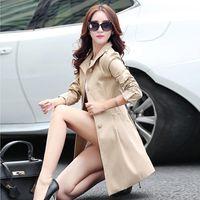 Women's Trench Coats Boollili 2021 Coat For Women Slim Elegant Single Breasted Ladies Windbreaker Overcoat Casaco Feminino