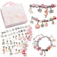 DIY Bead Bracelet Cartoon Crystal Glass Alloy Kits for Children Handmade Jewelry Makings with Gift Box Friendship Bracelets