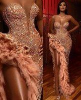 우아한 저녁 공식 드레스 아가씨 주요 구슬 도망 드 Soirée 크리스탈 섹시한 댄스 파티 가운 허벅지 높은 슬릿 스팽글 싱글 링 프릴 드레스