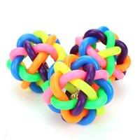 5 سنتيمتر الملونة rainbow pet bell الكرة الكلب لعبة القط لعب كلب الكرة جرس مضغ لعب لعب الأسنان تدريب الحيوانات الأليفة المنتج 223 v2