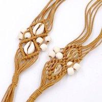 مصمم أزياء حزام الخشب الخرزة اليدوية الشمع حبل المنسوجة حزام الزخرفية الرياح العرقية الخشب حبة الخصر سلسلة أنثى بوهيميا