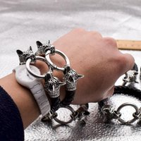Cuff Wolf Head Bracelet Fashion PU Bangles Ringlet Hair Rope Artificial Leather Weave