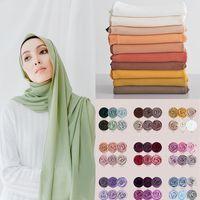 Scarves Muslim Chiffon Hijab Scarf Women 2021 Islam Solid Color Shawl Head Wrap Islamic Hijabs Headscarf Foulard Femme Musulman