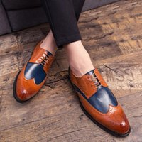 Dress Shoes Luxury Classic Mens Brogue Oxfords Genuine Cow Leather Brown Pointed Toe Lace Up Male Formal Footwear Wedding Party9