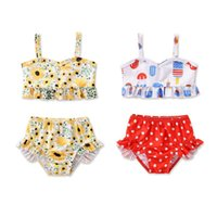 One-Pieces 1-6 Years Infant Girls Swimsuit Sunflower Cartoon Print Ruffle Camisole Bikini Tops Swimming Bottoms Suits
