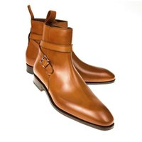 Daily Men Business Formal Ankle Boots Brown PU Belt Buckle Fashion Leisure Low Heel Round Head Versatile DH213