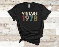 T-shirt das mulheres vintage 1978 angustiado retro fade 43rd presente de presente de aniversário camisa de camisa de algodão plus size roupas femininas o pescoço manga curta top t