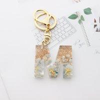 Keychain en gros chaîne de résine Starfish Custom Custom Laser Glitter Acylique 26 English Lettre Alphabet pour sac Pendentif Porte-clés