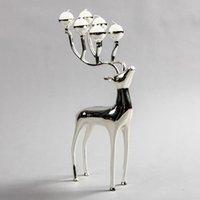 Titulares de vela de prata banhado a forma de veado metal suporte, 6 braços candelabros com 18 pcs velas livres