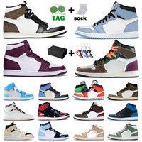 상자 stock x Nike Air Jordan Retro 1 Jordans 1s off white 재고 원래 망 여성 농구 신발 1 1 1s jumpman 운동화 선인장 잭 높은 중간 회색 새틴요르단레트로 공기 트레이너