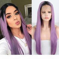 Charisma 13x6 seidige gerade Perücken Tiefsteil Synthetische Spitze Front Perücke Ombre Purple Perücken Für Frauen Hitzebeständige Haare Schwarze Wurzeln