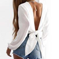 Женщины Белая Блузка Сексуальная Сплошная Без спинки Пустые Лучкие Топы Длинные Рукав Без спинки Узел Блузка Блузка Фонарь Рубашка X0521