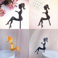 الإبداعية الأزياء الديكور الكعوب سيدة فتاة كعكة أعلى الديكور حزب الحلوى اكسسوارات نوم الأصفر الأسود جو الديكور