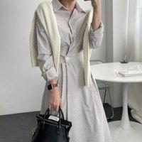 Повседневные платья Zawfl Chic Chic осенью Trend женщин отворота одиночная кнопка полосатая простая и мода рубашка с длинными рукавами платье 2021