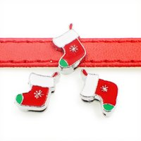 50pcs 크리스마스 빨간색 양말 매력 슬라이드 비즈 DIY 8mm 팔찌 손목 밴드, 벨트 스트랩 애완 동물 이름 칼라 전체