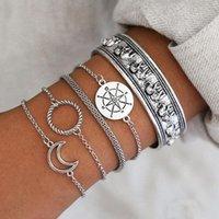 Okkulte armband tibetan-silber metall kette armband set für frauen flugzeuge kompass mond charme bangle boho schmuck link,