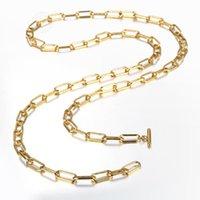 7 ملليمتر مزدوجة الطبقات الذهب اللون المقاوم للصدأ رولو مربع سلسلة قلادة طويلة للنساء الفتيات تبديل المشبك مجوهرات هدايا LDN194A سلاسل