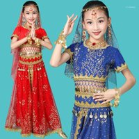 Stage Wear Girls Belly Dance Costumes Design Oriental Children Dresses India Bollywood Professional Outfit Kids 4 Color11