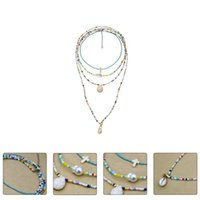 Set Of Summer Woman Necklace Ethnic Style Jewelries Beach Multi-layer Pendant Necklaces