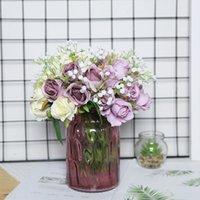 Yumai 12 رئيس الحرير الوردي روز الزهور باقة الاصطناعي العروس العروسة اليد الورود زهرة لحضور الزفاف المركزية الجدول ديكور GWE5295