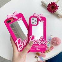 جيد الأزياء الكرتون باربي مرآة السيليكون الحالات الهاتف لفون 12 11 برو x xs ماكس xr 7 8 زائد se لطيف الوردي حالة الغطاء الخلفي هدية