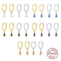 Bohemia Teardrop Colorful Gemstones Hoop Earrings For Women Wedding Jewelry 925 Sterling Silver Purple Blue Green White & Huggie