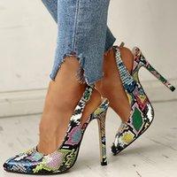 2020 nuevas mujeres verano tobillo correa sandalias 10 cm tacones altos delgados serpentina puntiaguda apuntada bombas de la oficina zapatos de serpiente y200702
